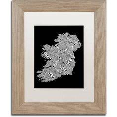 Trademark Fine Art Ireland Eire City Text Map B Canvas Art by Michael Tompsett, White Matte, Birch Frame, Size: 16 x 20