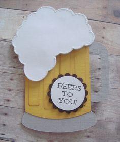 Beer Mug Card Masculine Birthday Card by CraftyClippingsbyPeg