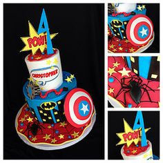 Superhero cake. I really like the platter dressing and the name in the word balloon. Also the topper.