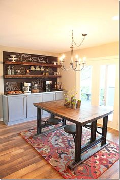 Magnolia Homes // Fixer Upper Dining area with chalkboard wall/coffee bar Dining Area, Hgtv Fixer Upper, Home Kitchens, Coffee Bar, Home, Fixer Upper, Dining, Dining Furniture, Home Decor