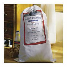 "Personalized Collegiate Laundry Bag with ""Laundry 101"" manual"