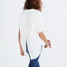 Courier Button-Back Shirt in Pure White : button-up & popover shirts | Madewell