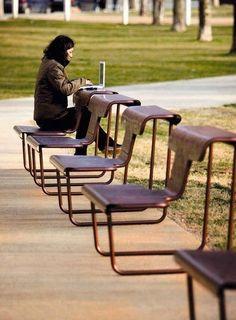 Multifunctional chair-desk designed by Alfredo Haberli