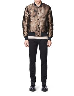 Illuster bomber-Men's short bomber jacket with fur pattern. Concealed zip and press button fastening. Rib at cuffs, neck and bottom hem. Tiger Of Sweden, Men's Outerwear, Cuffs, Bomber Jacket, Winter Jackets, Fur, Button, Fitness, Pattern