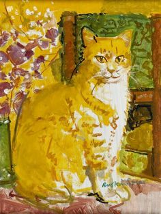 Ruskin Spear R.A Gone fishing Author Han-Lin - Art Gallery- Ruskin,Spear,Gone,fishing,oil I Love Cats, Crazy Cats, Illustrations, Illustration Art, Cat Sketch, Photo Chat, Cat Colors, Ginger Cats, Here Kitty Kitty