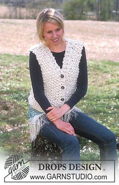 DROPS 93-30 - Vest in Ull-Flamé and Eskimo - Free pattern by DROPS Design