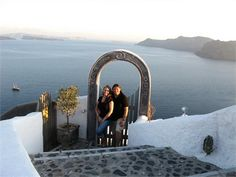 Lisa and Cassandra honeymooned in Santorini, Greece Read their Real Wedding feature on EquallyWed.com #lesbians #weddings #brides #honeymoons #travel #gay #Greece