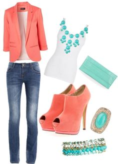 "Spring outfit. :) so cute, just wish I could wear a blazer with the football shoulders! Lol... Minus the ""matchy"" shoes."