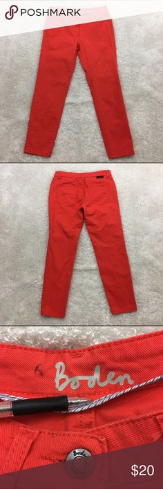 """Boden Skinny Jeans, Red Orange, 4P Boden skinny jeans A bit of stretch to it Red-orange color  Fabric is made of 97% cotton and 3% elastane. Machine washable.  Size 4P  Waist laid flat 14"""" Rise 8"""" Seam 25"""" Approximate only.  Great condition.  No stains or holes.  Freshly washed.  Stored in a smoke and pet free household.  Please see all pictures in details or ask any questions to avoid return.  Check out my store for other items on sale! Boden Jeans"""