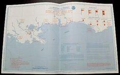 Antique MAP Nat'l Weather depth chart Apalachicola, Florida to Morgan City, L.A.