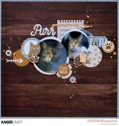 """""""Purr"""" a layout by Evgenia Krapivina Design Team member for Kaisercraft Official Blog featuring their 'Pawfect Cats' Collection [March 2017] Learn more at kaisercraft.com.au/blog ~ Wendy Schultz ~ Scrapbook Layouts."""