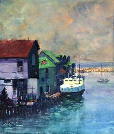 Fishing Village Watercolor, Painting, Art, Gouache Art, Gouache