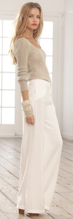 Sweater and White Pants.