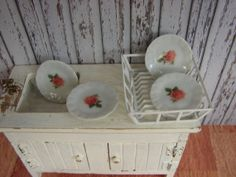 Miniature Love.......Dollhouse Miniature Shabby Chic White Ceramic Dinner Plates with Rose Motif Set of 4