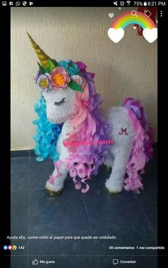 Curly Mane in 2020 Party Unicorn, Diy Unicorn, Unicorn Themed Birthday Party, Unicorn Crafts, Unicorn Birthday Parties, First Birthday Parties, Birthday Party Decorations, Girl Birthday, Anniversaire My Little Pony
