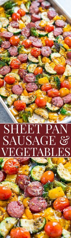 Sheet Pan Sausage and Vegetables - Fast, EASY, one pan recipe that's full of FLAVOR! Juicy sausage, lots of veggies, and a dusting of Parmesan cheese to finish it off! Put it into your regular rotati (Baked Mix Vegetables) Sheet Pan Sausage and Ve Pork Recipes, Chicken Recipes, Cooking Recipes, Healthy Recipes, Recipe Chicken, Baked Veggie Recipes, Turkey Kielbasa Recipes, Pan Cooking, Fast Recipes