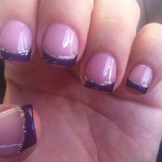 Pink, purple, and silver french manicure for short nails.