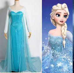 Halloween Women blue Cosplay Princess Fancy Dress Adult Costumes Gown Dress…
