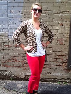 red skinny jeans + leopard : Be Fashionably Early