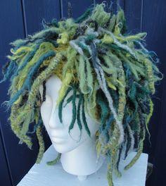 """Attach felted """"dreads"""" to a knit hat: BeachGirlsPurls"""
