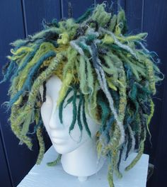 "Attach felted ""dreads"" to a knit hat: BeachGirlsPurls"