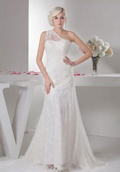 one shoulder crystals court train lace tulle natural waist zipper wedding dress - Whoboxdress.com