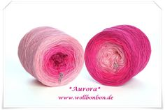Wollbonbon *Aurora* 50% Baumwolle/50% Acryl Farbverlauf : rose-anemone-fuchsia-himbeere