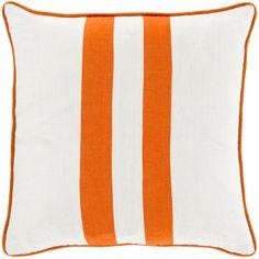 Surya Bold Linen Double Stripe Pillow in Orange HGTV