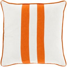 Surya Bold Linen Double Stripe Pillow in Orange - Featured in HGTV!
