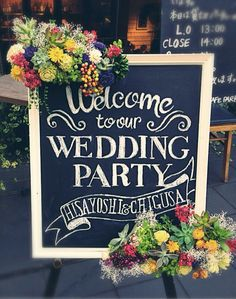 \ブラックボード+チョーク/材料たったの2つで出来る♩『チョークアート』でおしゃれなボード作り*にて紹介している画像 Wedding Welcome Board, Welcome Boards, Wedding Crafts, Diy Wedding, Wedding Flowers, Wedding List, Wedding Notes, Crazy Wedding, Botanical Wedding