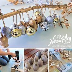 The Nature Play WA team have compiled a list of Christmas craft projects that families can have a crack at this December. Christmas Decorations Australian, Christmas Decorations For Kids, Christmas Craft Projects, Diy Christmas Ornaments, Xmas Baubles, Aussie Christmas, Australian Christmas, Natural Christmas, Christmas Love