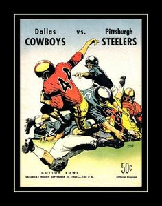 Dallas Cowboys Wall Art, 1960 Inaugural Game Program Poster. Great gift for Cowboys fans in General. It will look great in your husband's Sports Bar, office, man cave or home bar. Also a great housewarming gift. This ready-to-frame poster is printed to order on heavyweight satin photo paper. Buy with confidence. I stand behind everything I sell. If you are not satisfied please contact me so I can resolve your unmet expectations. Cowboys Vs, Dallas Cowboys, Pittsburgh Steelers, Football Wall, Nfl Football, Football Officials, Football Program, Order Prints, Wall Art