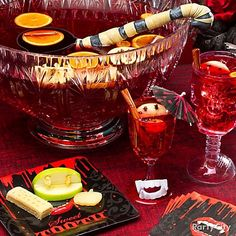 Sinful Sangria that will satiate a crowd, mix two 750 ml bottles of rosé or blush wine with 4 cups pomegranate juice, 4 cups lemon soda and 2 cups limoncello liqueur. Top with sliced oranges and apples studded with cloves and cinnamon sticks.