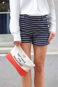 """Need these nautical shorts! So my style! Women's fashion"" - Forget the shorts. I need that bag that tells me to eat cake for breakfast."