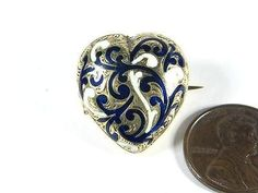 Antique Victorian English 9K Gold Blue White Enamel Heart Locket Pin C1860 | eBay