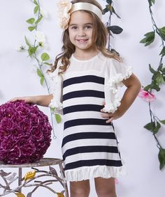 Look what I found on #zulily! Navy & Crème Stripe Ruffle Angel-Sleeve Dress - Toddler & Girls by Mia Belle Baby #zulilyfinds