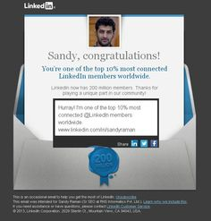Hurray! I'm one of the top 10% most connected @LinkedIn members worldwide. www.linkedin.com/in/sandyraman