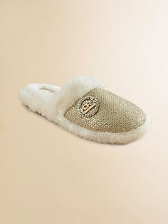 Kors Kids Girl's Faux Shearling Metallic Slippers