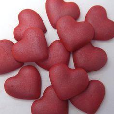 12 Red Pearl Sugar Hearts edible sugarpaste ruby wedding cake decorations
