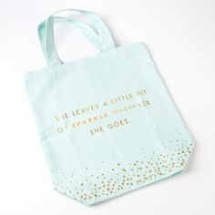 "Mint Green ""Sparkle"" Canvas Tote Bag"