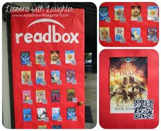 Readbox- classroom door idea, book report, book trailers, QR codes, movie making, technology, literacy