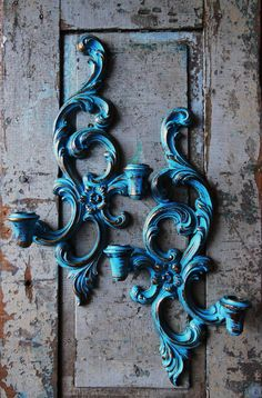 Turquoise Wall Sconces Ornate Upcycled by turquoiserollerset, $28.00
