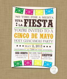 Cinco de mayo party invitation printable Cinco de mayo invite Dia de los muertos invitation Mexican party invite Nachos Margaritas Fiesta by laceyfields on Etsy https://www.etsy.com/listing/226465478/cinco-de-mayo-party-invitation-printable