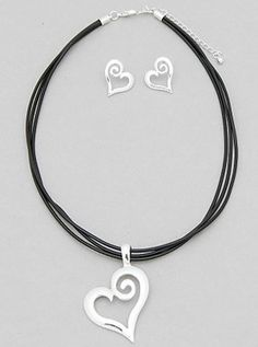 "Show your style with this beauty. A swirling Leather Heart necklace and earrings set. - Color : SILVER-BLACK- Size : 17"" with 3"" Extension"