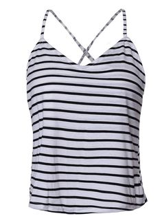 Striped Backless Sleeveless Cross V-Neck Women Tank Tops