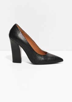 & Other Stories   Sculpted Heel Leather Pumps