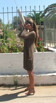 Long Line all season brown sweater / cardigan Size small, ready to ship