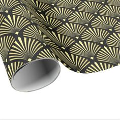 Elegant Gold Art Deco Fan Pattern on Black Wrapping Paper - Sold at Encore_Arts on Zazzle