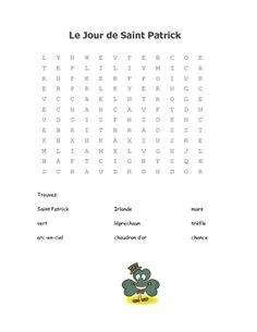 Fun word search for French class for St. Core French, French Class, French Lessons, Saint Patrick, St Patrick's Day Words, French Immersion, Teaching French, France, Word Work