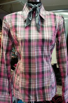 Show Diva Designs plain fitted shirt in pink and grey plaid